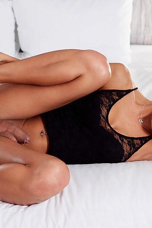 Beautiful Japan shemale  Miran posing on bed