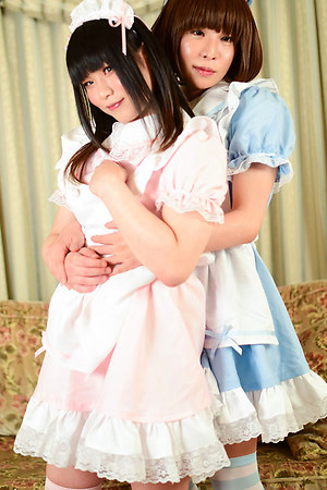 A blistering girl on girl fuck scene featuring two very naughty little newhalfs! Looking adorable in their slutty maids attire, Himena Takahashi & Miharu Tatebayashi spoil us with a white hot display - Miharu taking the reins and impaling Himena's tight a